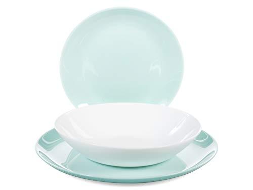 Luminarc Diwali Vajilla de vidrio opal extra resistente para 6 personas, 18 piezas, Turquesa y Blanco