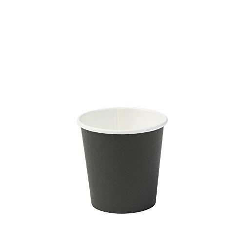 BIOZOYG Vaso Hecho de cartón orgánico I vajillas Desechables Vaso de Beber Taza Hecho de Papel Taza compostable y Vaso Biodegradable Negra, no Impresa 50 Unidades 100 ml 4 oz