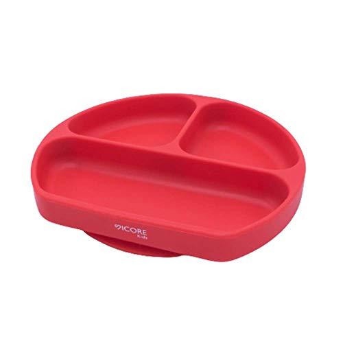 Sicore Kids Plato de silicona para bebes | Plato con ventosa adherente a superficies no porosas| Plato con compartimentos | Ideal para BLW | Vajilla de silicona libre de BPA | Mantel de silicona