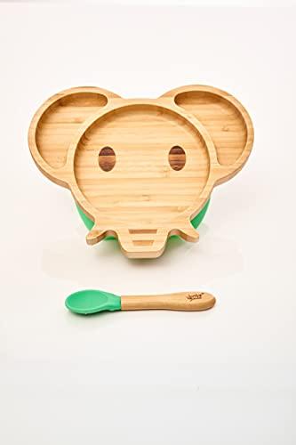 bambuswald© Juego de vajilla para bebés y niños pequeños Vajilla infantil de elefante Cuchara, plato, tazón - Sostenible y Ecológico | Plato para bebés, juego de vajilla para niños, set de desayuno
