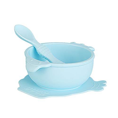 JPYH Vajilla silicona Bebé,ventosa Cuenco de silicona con ventosa Plato infantil antideslizante con cuchara de silicona Cuenco de silicona sin BPA para niños Anticaída(azul)