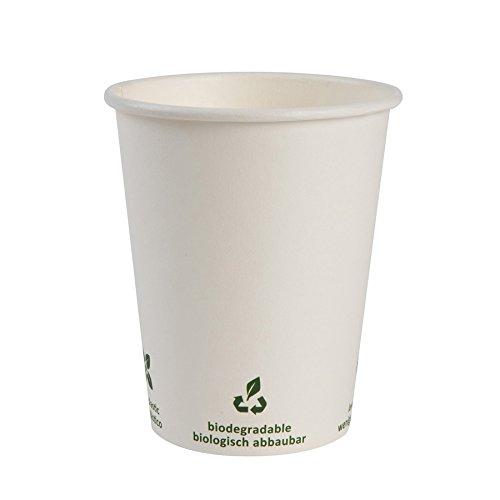 BIOZOYG Vaso de café Cartón I Vajilla compostable y Biodegradable I Vaso de Bebida Vaso Hecho de cartón I desechable Vaso de café Blanco con impresión Icone 1000 Piezas 200 ml 8 oz