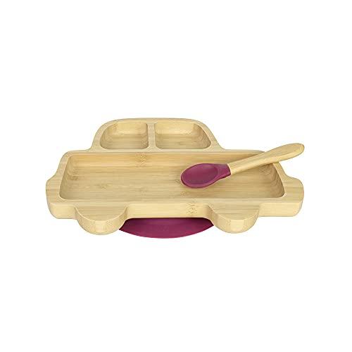 BIOZOYG Juego de Platos de Bambú Coche I Plato con Ventosas y Cuchara - Certificado FSC I Platos de Madera de Bambú para Niños - Plato y Bol para Niños I Vajilla de Bambú para Bebés Rojo
