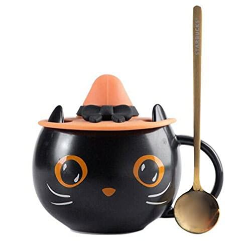 Taza de cerámica con tapa de gato de calabaza de Halloween con cuchara de tapa, taza de gatito negro con tapa de bruja, taza de café para amantes de los gatos, regalos para mujeres y niñas