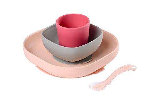 BÉABA Juego de Vajilla en Silicona Infantil, Ventosa resistente, Set de 4 Piezas para bebé, Plato + Bol + Taza + Cuchara, Alta calidad, Accesorios para el Aprendizaje de bebé, Rosa