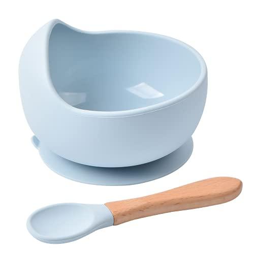 Sicore Kids Set de bowl de silicona y cuchara de bambú   Cuenco con base adherente a superficies no porosas   Bowl antivuelco BPA free ideal para BLW   Bol apto para microondas y lavavajillas (Azul)
