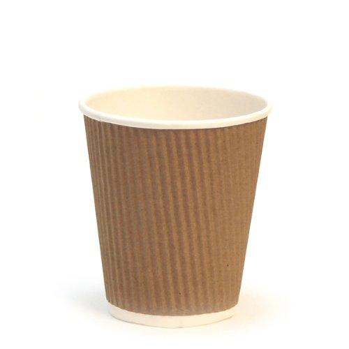 Garcia de Pou 1000Unidad Doble Pared Corrugado Vasos para Bebidas Calientes en Caja, 240ml, cartón, marrón, 30x 30x 30cm