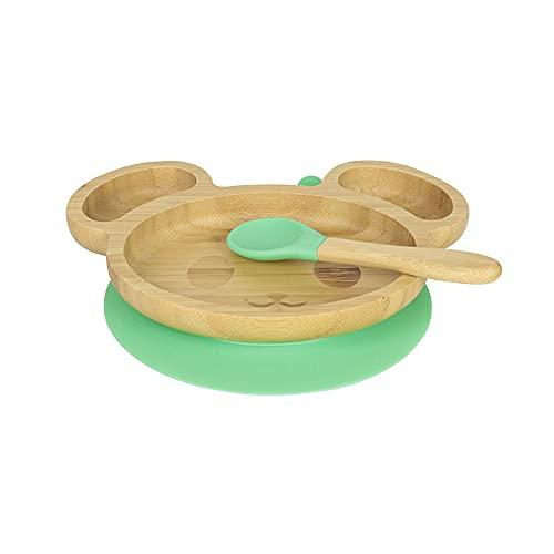 BIOZOYG Juego de Platos de Bambú Ratón I Plato con Ventosas y Cuchara - Certificado FSC I Platos de Madera de Bambú para Niños - Plato y Bol para Niños I Vajilla de Bambú para Bebés Verde