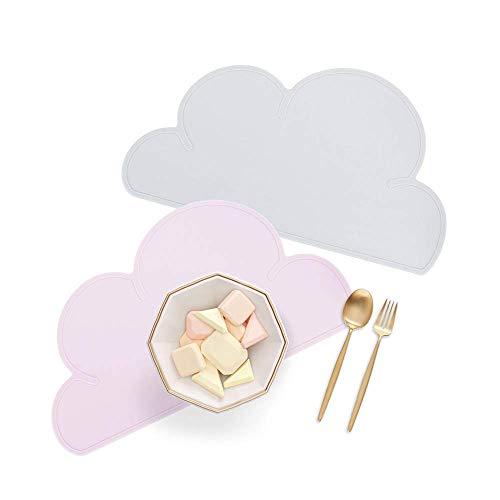 YIQI Juego de 2 tapetes para niños, manteles Individuales de Silicona en Forma de Nube 47.5 × 27cm Placa de alimentación para bebés, vajilla portátil, Gris y Rosa