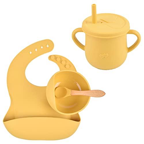 SUSHUN 4 Piezas de Silicona Cuenco de alimentación para bebés Taza Babero Juegos de cucharas niños Platos de succión Antideslizantes vajilla Comida Infantil Cuenco de bocadillos Amarillo