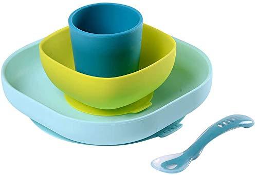 BÉABA Juego de Vajilla en Silicona Infantil, Ventosa resistente, Set de 4 Piezas para bebé, Plato + Bol + Taza + Cuchara, Alta calidad, Accesorios para el Aprendizaje de bebé, Azul