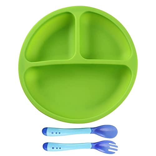 Tougod Juego De Vajilla 1 + 2 Piezas Bandeja De Silicona Para Niños Destete Con Plato Con Ventosa Para Niños Y Tenedor Y Cuchara, Naranja (Green)