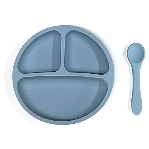 Kidoo - Pack Plato y Cuchara de Silicona - Vajilla de Bebé Antideslizante | 100% Libre de BPA - Aprobado por la FDA - Base Adherente - para Lavavajillas y Microondas - No Tóxico (Azul)