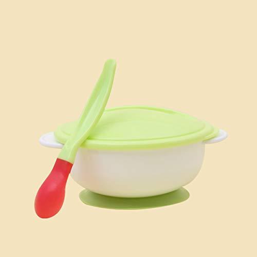 Greatangle Vajilla para bebés Vajilla Cuenco de succión Comida para bebés recién Nacidos Cuencos de alimentación para bebés Platos Alimentación para bebés Cuenco para Comer con Cuchara Verde y Blanco