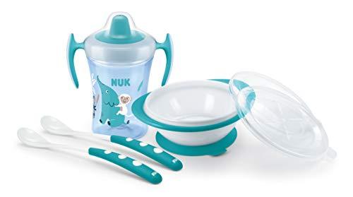 NUK Learn-to-Eat Set incluye taza para beber (230ml), tazón para comer y cucharas para alimentar | Elefante (azul)