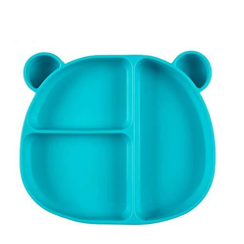 Homvik Plato de Silicona con Ventosa para Bebé Mantel Individual para Bebé Niños Plato Antideslizante Plato de Alimentación para BLW (Verde)