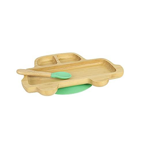 BIOZOYG Juego de Platos de Bambú Coche I Plato con Ventosas y Cuchara - Certificado FSC I Platos de Madera de Bambú para Niños - Plato y Bol para Niños I Vajilla de Bambú para Bebés Verde