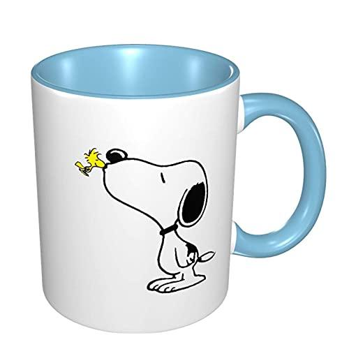 Snoopy and Woodstock - Taza de cerámica para café, té, cacao y bebidas calientes, color azul