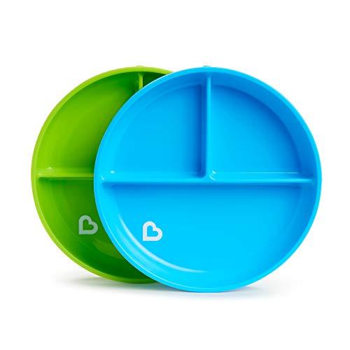 Munchkin - Platos de ventosa divididos Stay Put, azul/verde