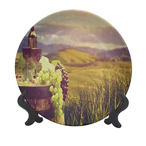 Plato decorativo de cerámica de 20,32 cm, Italia Toscana paisaje rural viñedo otoño cosecha uvas bebida viticultura plato de cena decorativo de cerámica para mesa de comedor, decoración del hogar
