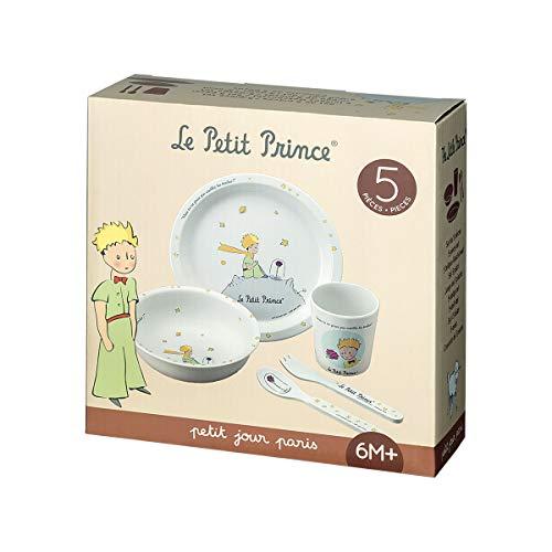 Petit Jour Paris - PP701WP - Caja de vajilla blanca de 5 piezas Le Petit Prince - Promueve la autonomía