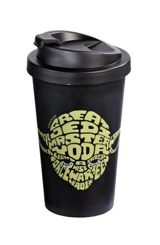 Star Wars 12275 Yoda - Vaso térmico para el café (Doble Revestimiento de plástico, 400 ml), diseño con Texto en inglés Great Jedi Master Yoda