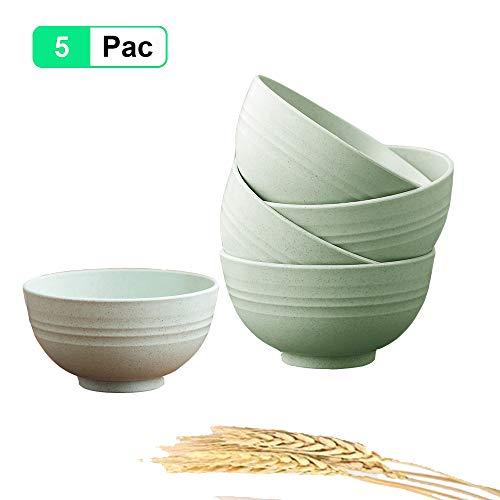 5 Piezas Cuenco Cereales, 24 oz irrompibles Bol Cereales Bowls Cocina Ensaladeras Vajilla Tazones de Consomé, Aptos para lavavajillas y microondas para niños, arroz, tazones para Sopa Tazones (Verde)