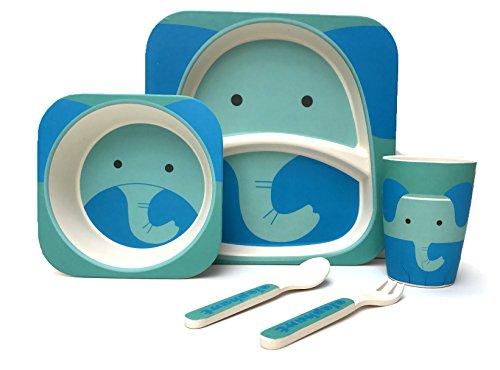 Vajilla de bambú para niños, 5 piezas, 100% fibra de bambú, ecológica, apta para lavavajillas (elefante)