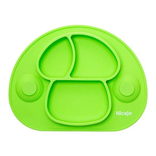 Plato Bebé Con Ventosa - Vajilla de Silicona Alimentaria - Mantel Antideslizante Para Trona - 3 Compartimentos Papilla – Niños 6-18 Meses – Apto Para Lavavajillas Y Microondas (Verde)