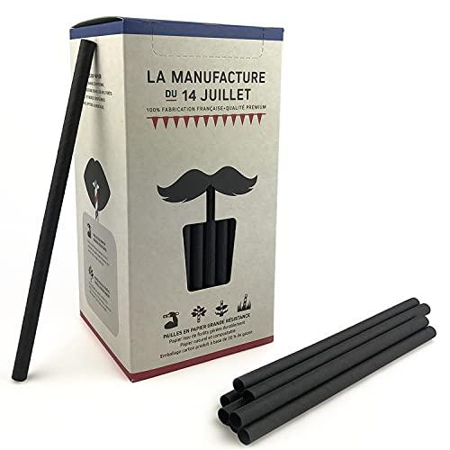 La Manufacture – 140 pajitas de papel, 140 grandes pajitas negras para beber biodegradables   Bebidas con y sin alcohol – Para cócteles y zumo   Fabricado en Francia