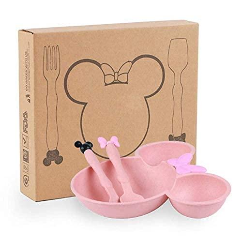 Juego de Vajilla Infantil de Mickey Mouse/ Tenedor + Cuchara + Plato de Mickey Mouse (rosa), regalo bebe, accesorios bebe, plato bebe, cubiertos infantiles, cosas para bebes