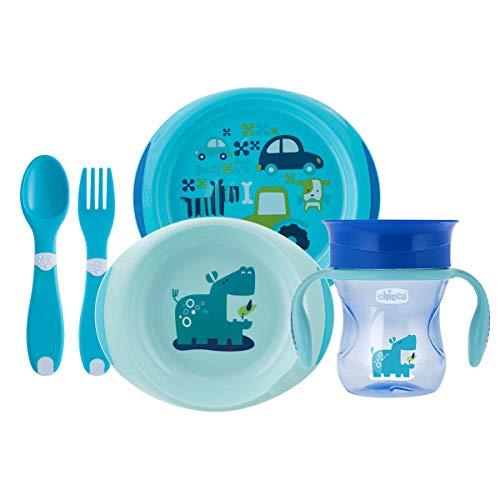 Chicco - Set completo comida, incluye platos + cubiertos + vaso, 12 m+, azul