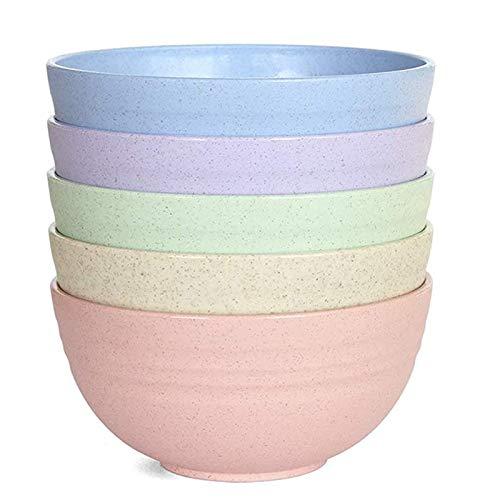 5 cuencos pequeños para cereales ligeros y seguros para alimentos, para niños, 12 cm, cuenco de paja de trigo irrompible para lavavajillas, microondas (5 colores)