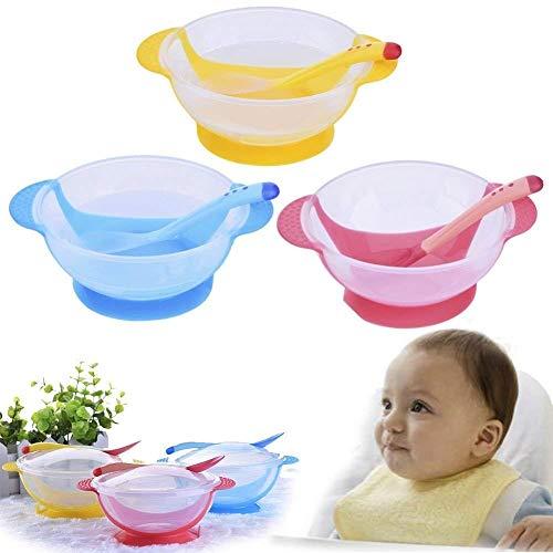 Recipiente para alimentar al bebé ventosa de silicona suave vajilla antideslizante cuchara de entrenamiento para bebés tenedor (amarillo)