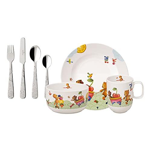 Villeroy & Boch - Servicio de mesa para niños Happy as a Bear, 7 piezas, porcelana Premium/acero inoxidable, blanco/multicolor