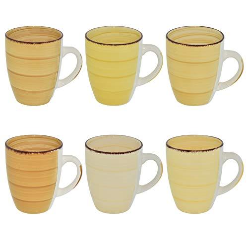 CREOFANT Juego de 6 tazas de café de 350 ml, de loza, para bebidas calientes (amarillo)