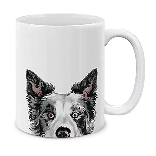 Black Merle Border Collie - Taza de café para perro, taza de café de cerámica, taza de té de cerámica de 11 onzas, la mejor divertida taza de regalo