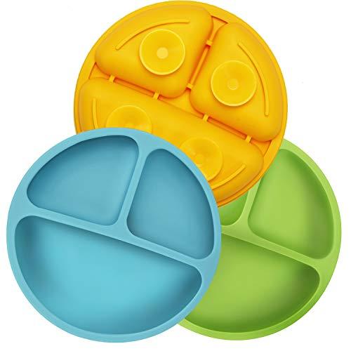 PandaEar Platos de Silicona Irrompibles Divididos para Bebés y niños Pequeños, Paquete de 3, Antideslizantes Aptos para Iavavajillas y Microondas Silicona (Azul Verde Amarillo)