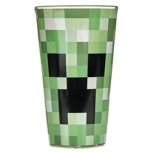 Paladone PP6729MCF Pixelated Creeper Glass   Vaso de 450 ml   Idea perfecta para los fans de Minecraft