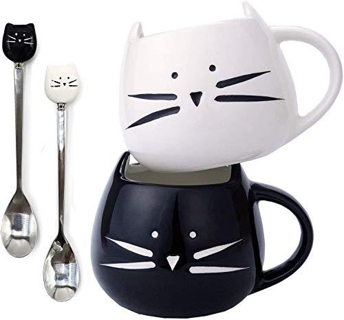 Juego de 2 tazas de café para gatos y tazas de café de cerámica para gatos, juego de cucharas para mujeres, esposa, madre, niña, profesora, amigos, cumpleaños, día de San Valentín (blanco y negro)