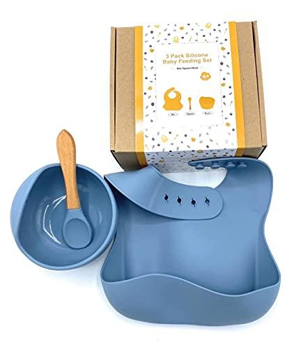 Juego de vajilla para bebes, babero silicona impermeable + Bowl con ventosa de seguridad y cuchara de silicona, Set de vajilla bebes, vajilla para bebes, cuenco con ventosa para bebes. (Azul Claro)
