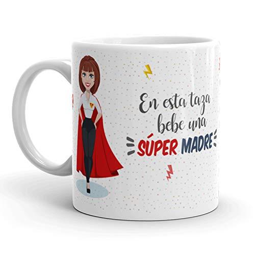 Kembilove Taza de Café para Madre – Aquí Bebe una Super Madre – Taza de Desayuno para Familia – Regalo Original para Familiares, Navidad, Aniversarios – Taza de Cerámica de 350 ml