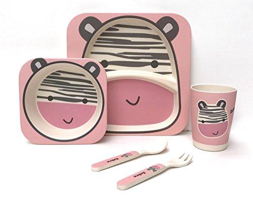 Juego de 5piezas para comer,100% de fibra de bambú, respetuoso con el medio ambiente, se puede lavar en el lavavajillas. Zebra