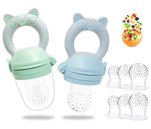 Chupete Fruta Bebe - RIGHTWELL 2 Pcs Chupetes Frutas para Bebés y Niños Pequeños con 6 Tetinas de Silicona sin BPA para Mordedor Verdura Papilla Alimentación Suplementaria