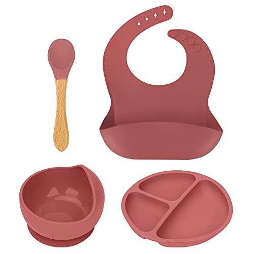 LINGSFIRE Juego de Vajilla en Silicona Infantil, Ventosa resistente, Set de 4 Piezas para bebé, babero de silicona para bebé, plato dividido y ventosa con cuchara para niños bebés, Sin BPA