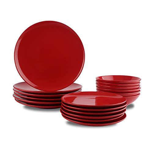 Amazon Basics - Vajilla de gres para 6 personas, color Rojo intenso, 18 piezas