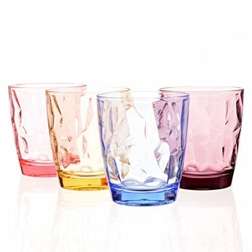 300ML Vasos de plástico acrílico irrompibles para niños, apilables, para picnic, camping, playa, fiesta (Assorted Color)