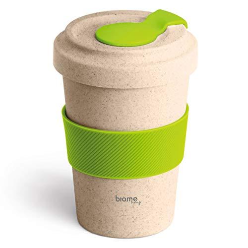 Biome Living Taza de café de bambú de 500 ml, portátil y reutilizable, elegante, respetuosa con el medio ambiente, sin BPA, apta para lavavajillas