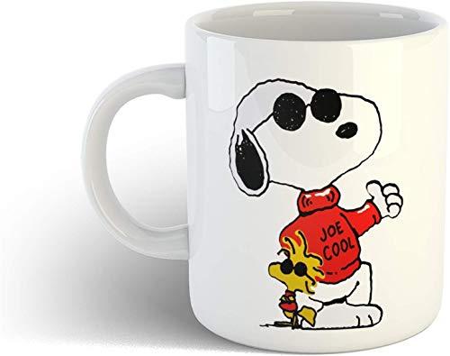Taza de café de cerámica Snoopy de cacahuetes Taza de café impresa linda divertida de Joe Cool Tazas Tazas de dibujos animados con tazas geniales El mejor regalo para el amante del perro Taza de café
