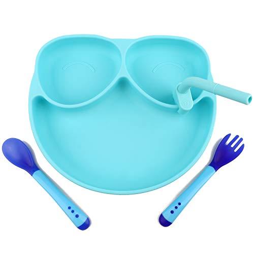 HASAGEI Plato infantil con ventosa, plato de silicona antideslizante para bebé, juego de vajilla para niños, plato para bebé, plato para bebé, con cuchara y pajita (azul)